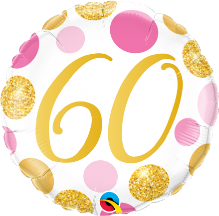 60th Gold & Pink Dots Foil Balloon